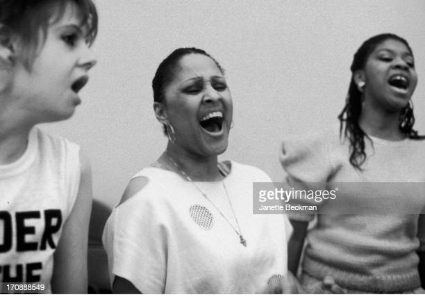 American session singer Darlene Love with Annie Golden rehearsing for the musical 'He's a Rebel' New York 1985
