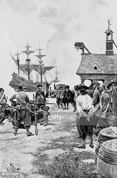 American settlers look upon an arrival of slaves from Africa at Jamestown New York in 1619