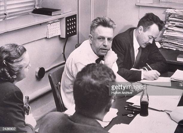 American sexuality researcher Alfred Kinsey works with his staff while preparing the final manuscript of his book 'Sexual Behavior In The Human...
