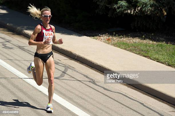 American Shalane Flanagan races in second place during the 2014 BolderBoulder 10K on May 26 in Boulder, Colorado. Flanagan finished second in 33...