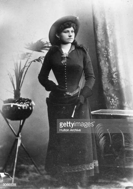 American sharpshooter and rodeo star Annie Oakley on tour with Buffalo Bill's 'Wild West Show' in Glasgow Scotland