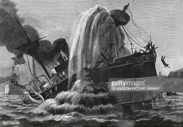 American ship USS Merrimac hit by a torpedo in the Bay of Santiago June 1898 SpanishAmerican war drawing by Bonquart Cuba 19th century