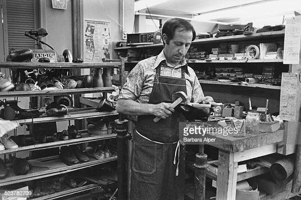 American shoemaker Harry Mantos, Boston, USA, June 1979.