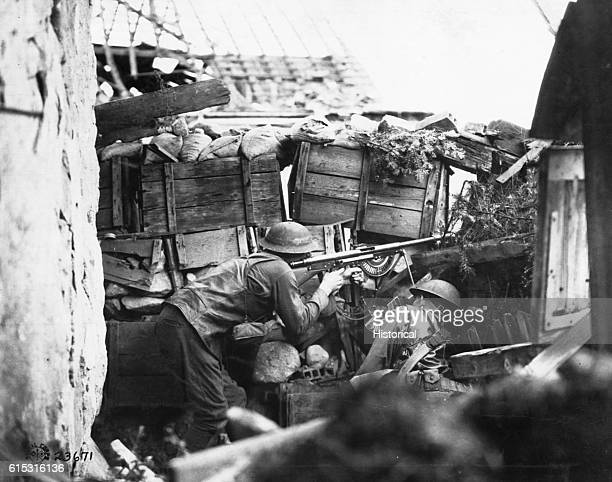 American shooters hold this outpost in the Vosges with a French automatic rifle.