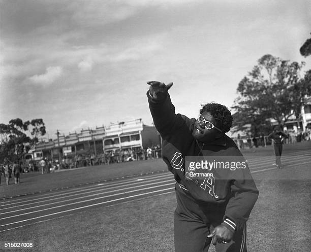 American shot put girl Earlene Brown of Los Angeles, California, in action during a training session at Royal Park today.