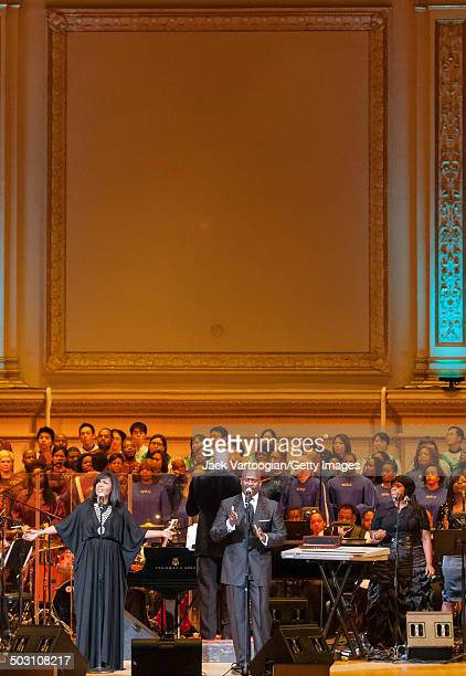 American sibling Gospel singers CeCe and BeBe Winans perform with the Inspirational Orchestra conducted by Ray Chew at 'A Night of Inspiration' at...