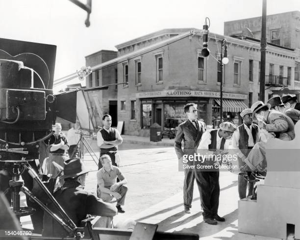 American silent comedy actor and producer Harold Lloyd on the set of one of his films circa 1920