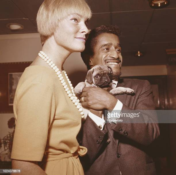 American singer actor and comedian Sammy Davis Jr pictured holding a Pug dog with his wife Swedish actress May Britt in England in 1961