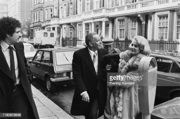 American singer actor and producer Frank Sinatra and American model showgirl socialite and philanthropist Barbara Marx in London UK 2nd March 1977