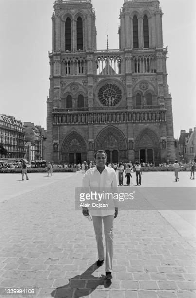 American singer actor and social activist Harry Belafonte in front of Notre Dame, Paris.