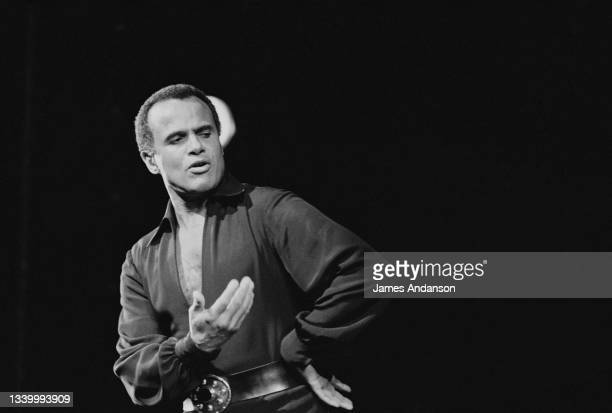 American singer, actor, composer, author, and producer Harry Belafonte performing at the Olympia Hall during a three day theater run.