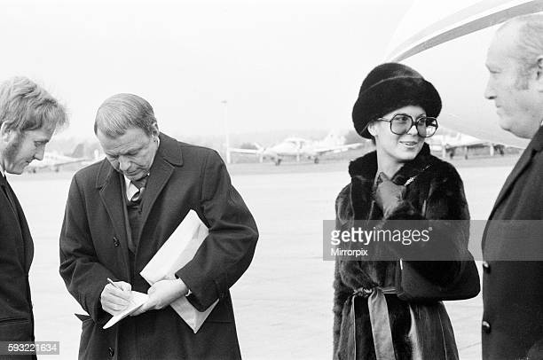 American singer actor director and producer Frank Sinatra flies into London Gatwick Airport on his personal Gulf stream jet Sunday 15th November 1970