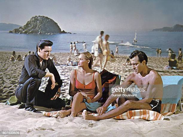 American singer actor Elvis Presley with Swiss actress Ursula Andress and Argentine actor Alejandro Rey in Fun in Acapulco directed by American...