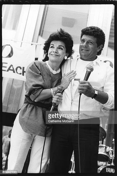American singer actress and former Mouseketeer Annette Funicello left and American actor and singer Frankie Avalon at an event on July 28 1987 in New...
