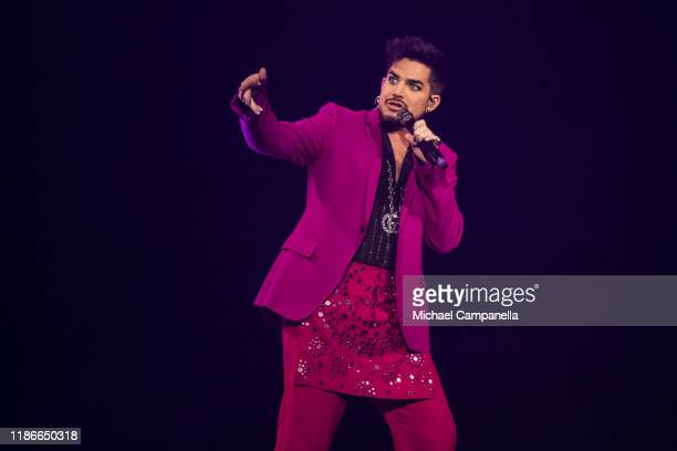 American singer Adam Lambert performs live on stage during an Avicii tribute concert to raise awareness for mental health at Friends Area on December...