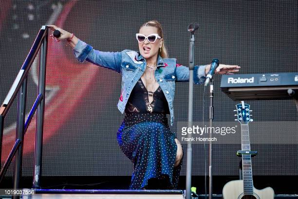 American singer Anastacia performs live on stage during the Festival Stars For Free at the Kindlbuehne Wuhlheide on August 18 2018 in Berlin Germany