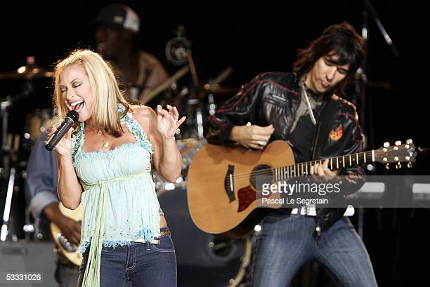 American singer Anastacia performs on stage during the 57th Red Cross Ball on August 5 2005 in Monte Carlo Monaco