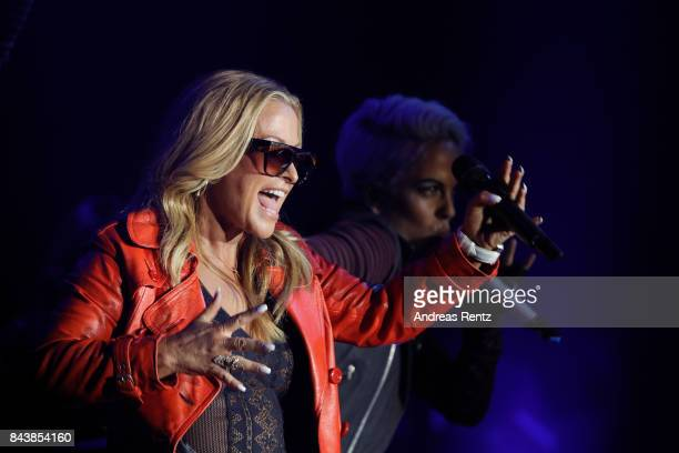 American singer Anastacia performs on stage during the ALDI SUED x Anastacia collection launch 'Music loves Fashion' at EWerk on September 7 2017 in...