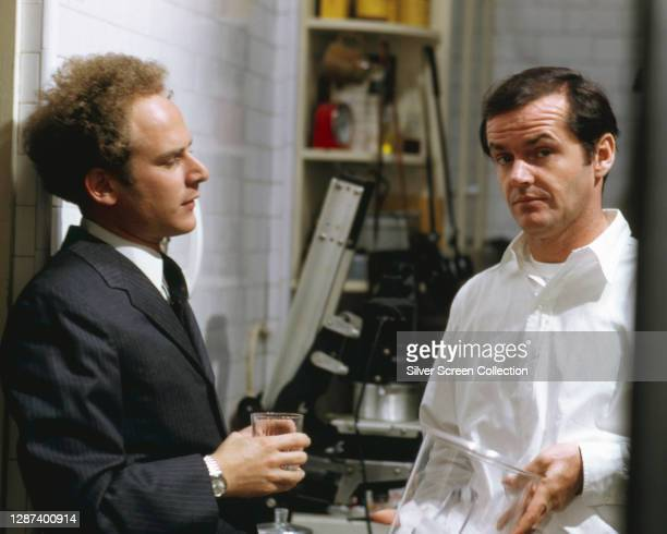 American singer and actor Art Garfunkel as Sandy and Jack Nicholson as Jonathan on the set of the film 'Carnal Knowledge', 1971.
