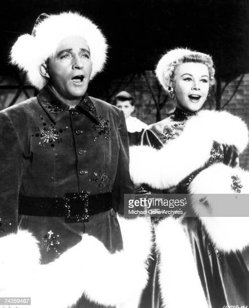 American singer and actor Bing Crosby and American actress and dancer VeraEllen in 'White Christmas' directed by Michael Curtiz 1954 Photo by Michael...