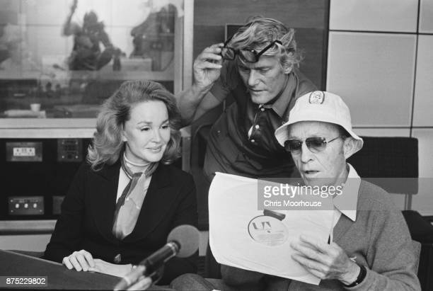 American singer and actor Bing Crosby with his wife actress Kathryn Crosby and radio presenter Pete Murray UK 16th September 1977