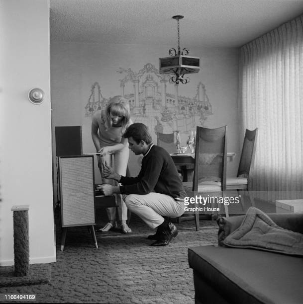 American singer and actor Fabian Forte at home with his wife Kathleen Regan circa 1968