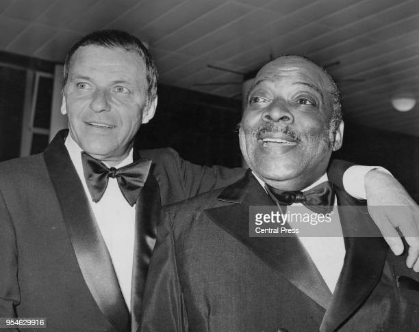 American singer and actor Frank Sinatra and bandleader Count Basie give a charity concert at the Royal Festival Hall in London in aid of the NSPCC...