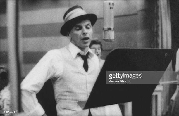 American singer and actor Frank Sinatra during a recording session at Capitol Records circa 1955