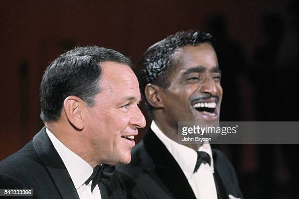 American singer and actor Frank Sinatra with singer and dancer Sammy Davis Jr Both Sinatra and Davis were members of the Rat Pack