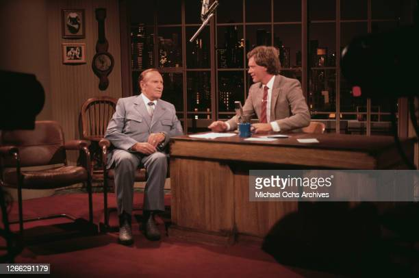 American singer and actor Gene Autry is interviewed on 'Late Night with David Letterman' in New York City, USA, 31st August 1982.