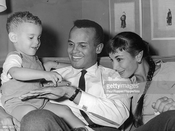 American singer and actor Harry Belafonte at the Mayfair Hotel in London with his wife Julie and their twoyearold son David 8th September 1959...