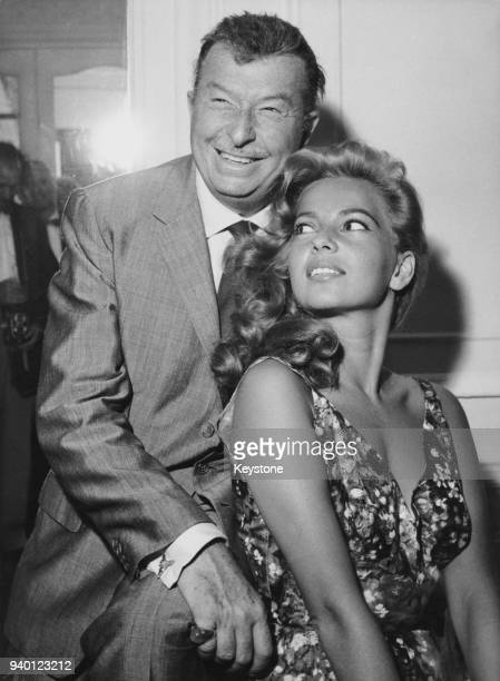 American singer and actress Abbe Lane and her husband bandleader Xavier Cugat at the Savoy Hotel in London 7th August 1959 They arrived from Paris...