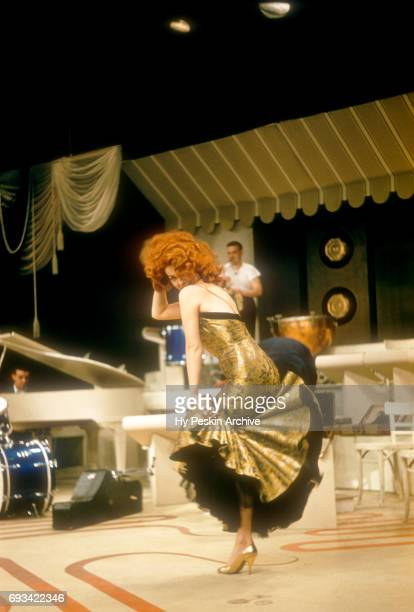American singer and actress Abbe Lane dances to Latin and rumba music on April 23 1957