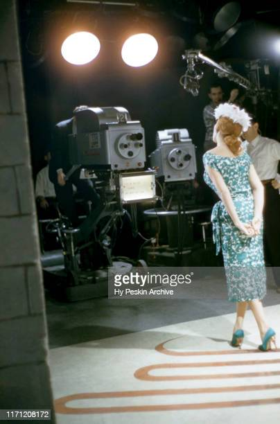 American singer and actress Abbe Lane performs on stage during a television special on April 23 1957