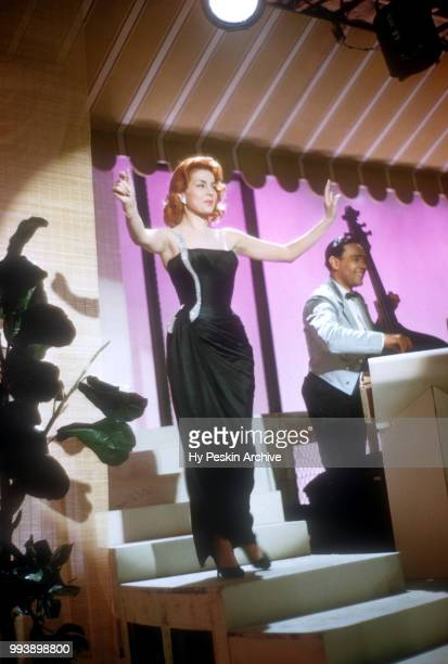 American singer and actress Abbe Lane performs on stage on April 23 1957