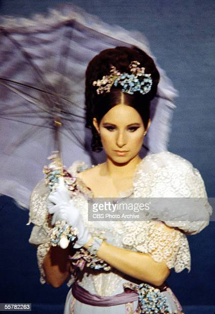 American singer and actress Barbra Streisand in costume as the title character of the TV special 'The Belle of 14th Street,' 1967.