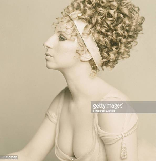 American singer and actress Barbra Streisand poses in a Cecil Beatondesigned dress for the movie 'On a Clear Day You Can See Forever' Brighton...