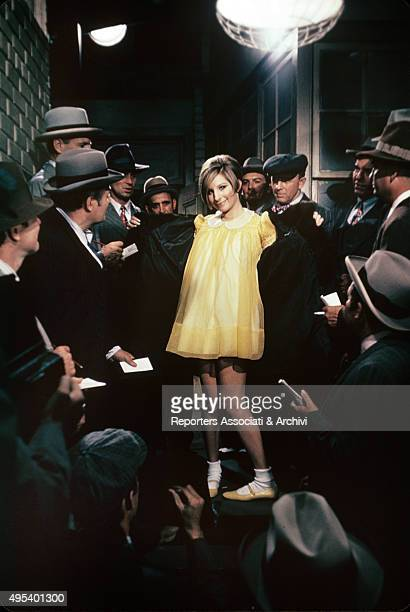 American actress and singer Barbra Streisand sings in a scene from 'Funny Girl' 1968