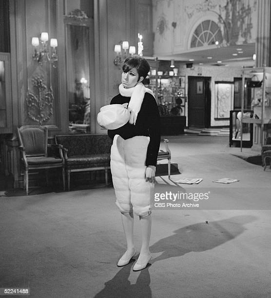 American singer and actress Barbra Streisand tapes a scene inside the Fifth Avenue department store Bergdorf Goodman for her 'My Name is Barbra'...