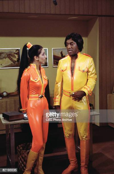 American singer and actress Cher and American actor and comedian Bill Cosby appear in complimentary skintight costumes in a skit from 'The Sonny Cher...