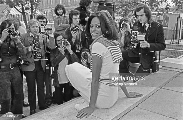 American singer and actress Diana Ross holds a press conference at the Inn On The Park in London, UK, to promote her new film 'Lady Sings the Blues',...