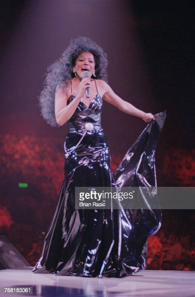American singer and actress Diana Ross performs live on stage during her Forever Diana World Tour at Wembley Arena in London in June 1994
