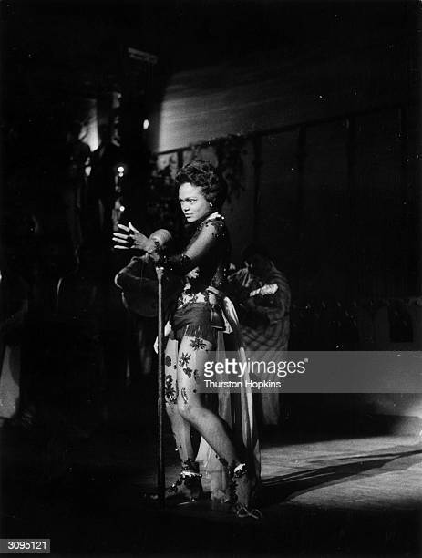 American singer and actress Eartha Kitt stars in the stage show 'Zarak' at the Leicester Square Odeon London Original Publication Picture Post 9062...