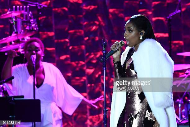 American singer and actress Jennifer Hudson performs during the traditionnal Clive Davis party on the eve of the 60th Annual Grammy Awards on January...