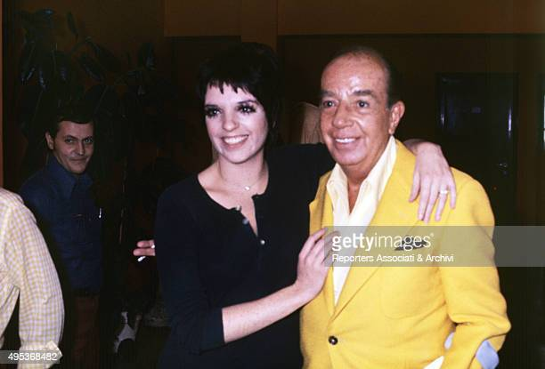 American singer and actress Liza Minnelli posing smiling with her father and American director Vincente Minnelli . Rome, October 1975