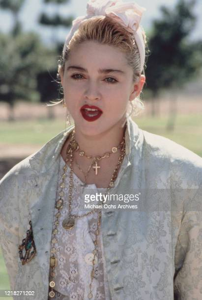 American singer and actress Madonna at a Pro-Peace rally in Van Nuys, Los Angeles, California, 5th October 1985.