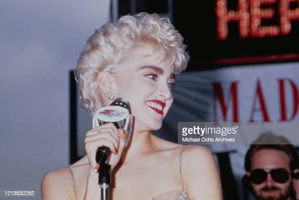 American singer and actress Madonna at the premiere of the film 'Who's That Girl?' in New York City, USA, 6th August 1987. She plays the female lead...