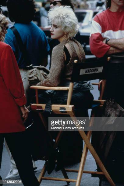 American singer and actress Madonna on the set of the film 'Slammer' later titled 'Who's That Girl' USA 1987