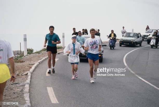 American singer and actress Madonna out jogging on the Riviera, circa 1988.