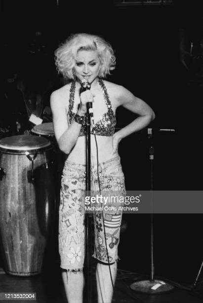 American singer and actress Madonna performs at the Don't Bungle the Jungle benefit concert at the Brooklyn Academy of Music in New York City, 24th...